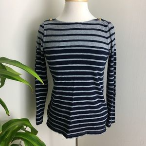 Tops - Blue and grey striped Painters Tee